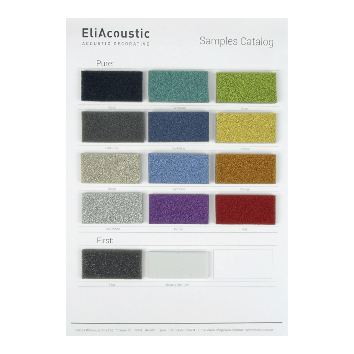 Carta de colores eliacoustic Pure