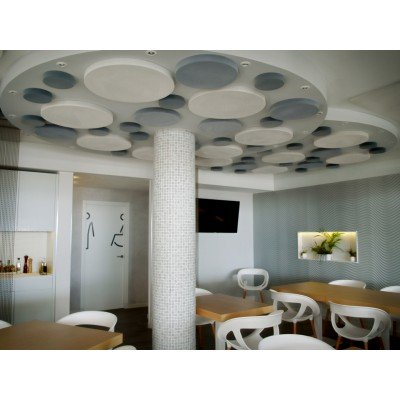 Paneles circulares fonoabsorbentes de EliAcoustic instalados en techo para reducir ruido, reverberacion y eco en Restaurante