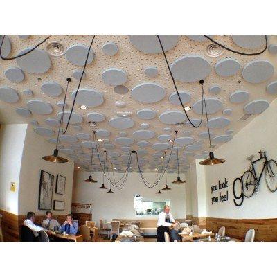 Circulos acusticos en restaurante para reducir reverberacion y ruido