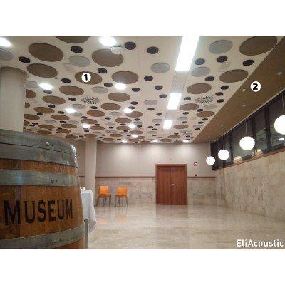 Circulos Acusticos en techo de Restaurante para reducir el ruido