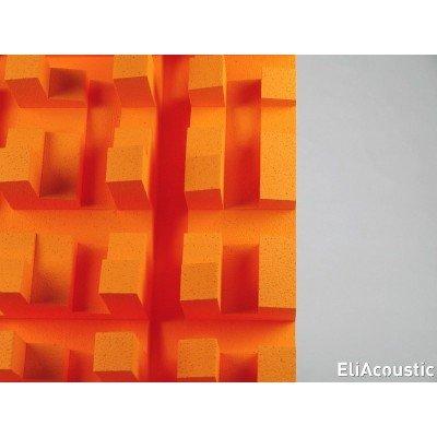detalle de difusor acustico para mejorar la amplitud de la escena sonora en salas hi end. EliAcoustic Fussor 3D pure orange