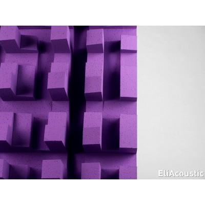 Detalle de difusor de sonido para mejora la acustica de salas. EliAcoustic Fussor 3D Pure Purple