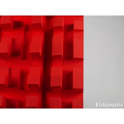 Detalle difusor acustico EliAcoustic Fussor 3D Pure Red