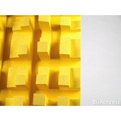Detalle de difusor de sonido EliAcoustic Fussor 3D Pure Yellow