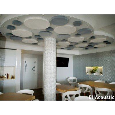 paneles acusticos con forma de circulos para reducir ruido en restaurantes