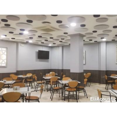 reducir ruido y reverberacion en restaurantes con paneles acusticos circulares