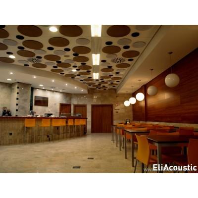 discos fonoabsorbentes para reducir el ruido en cafeterias