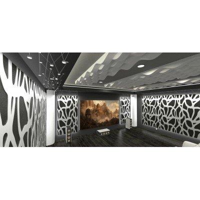 Home cinema para sala de cine en casa con paneles acústicos EliAcoustic SeaLand Luxury White