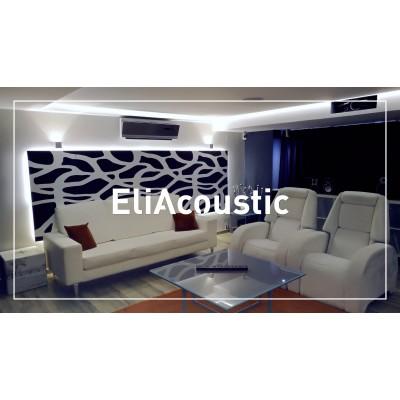 Salón de casa con paneles acústicos EliAcoustic SeaLand