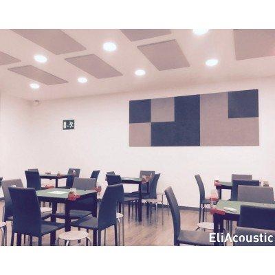 Paneles acusticos fabricados con nucleo de espuma acustica fonoabsorbente para reducir ruido en cafetería