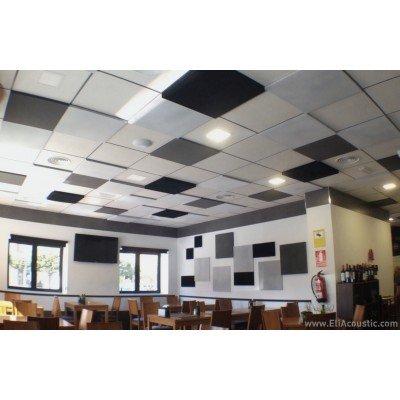 Placas insonorizantes para reducir ruido en el interior de un restaurante. Instalar falso techo con placas acusticas.