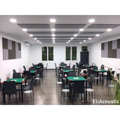 Reducir ruido en restaurante con paneles acusticos en techo eliacoustic
