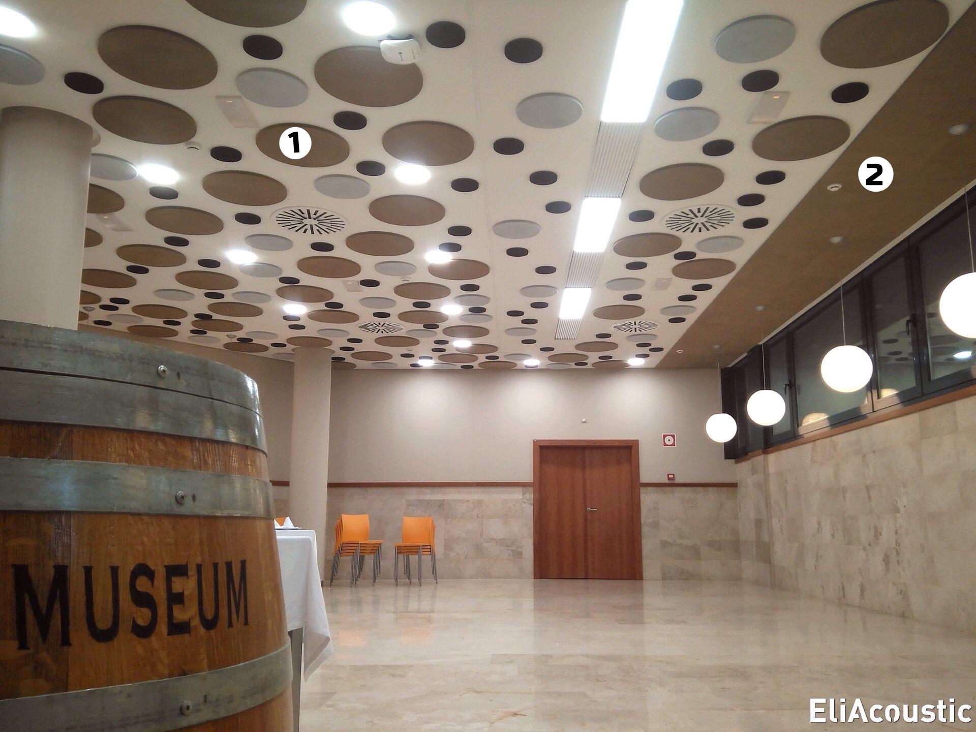 Mejora acustica de un restaurante con circulos acusticos de techo