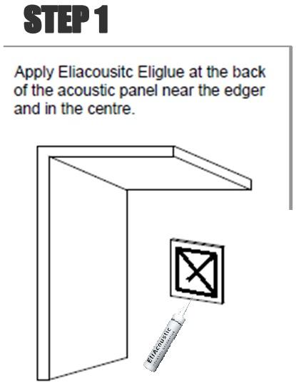 Poner el adhesivo por detrás del panel en forma de aspa y por los bordes