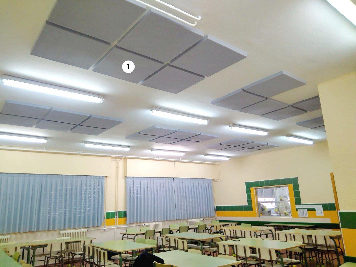 Paneles acusticos decorativos adaptados a la forma del techo