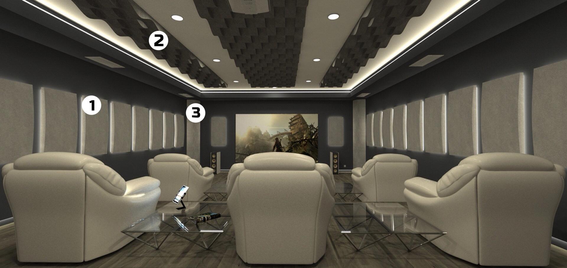 home cinema tratamiento acustico paneles retroiluminados