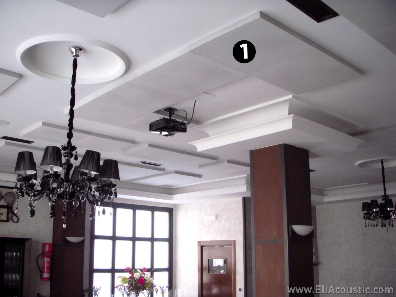 Paneles acusticos decorativos de techo para restaurante