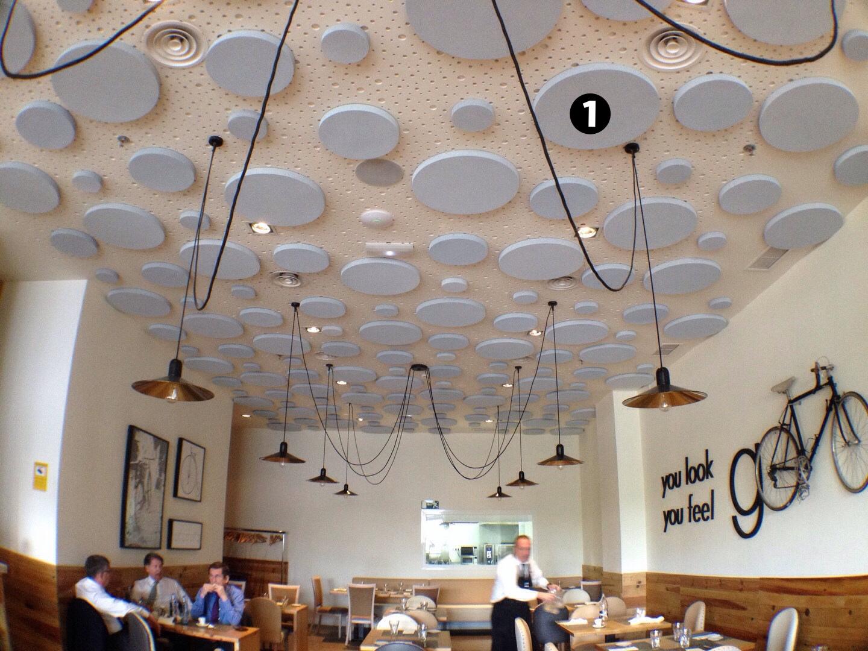 circulos discos acusticos en restaurante