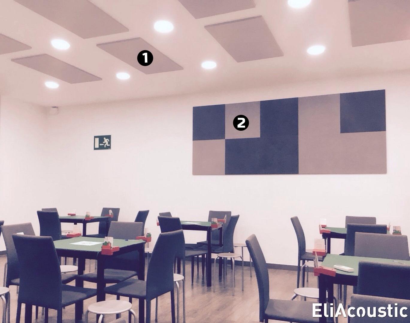 paneles acusticos reductores de ruido en restaurante