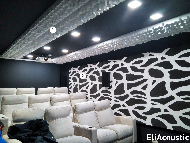 Home cinema con mosaico acustico decorativo led y difusores
