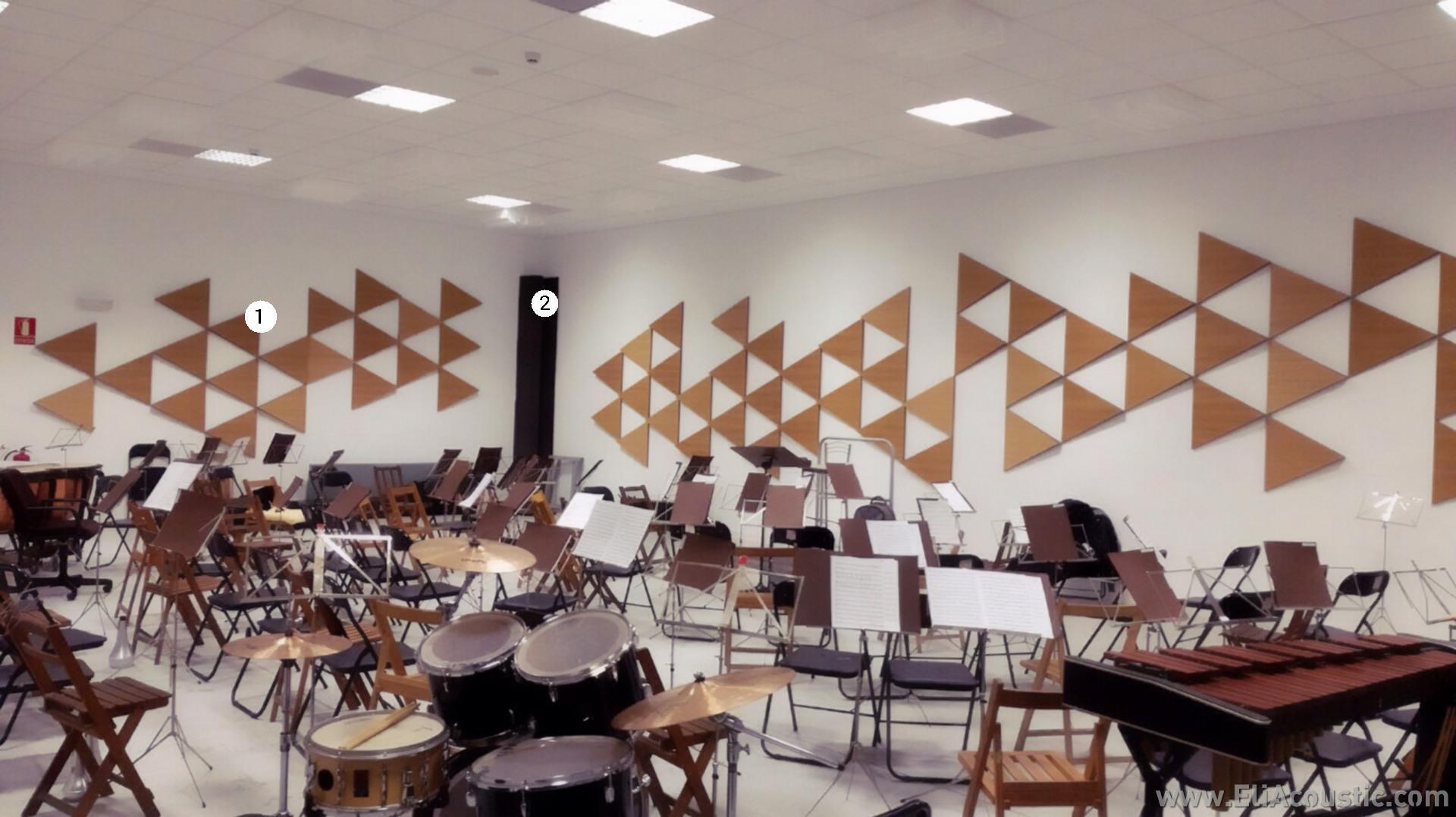 Mejorar la acustica con paneles acusticos decorativos en escuela de musica