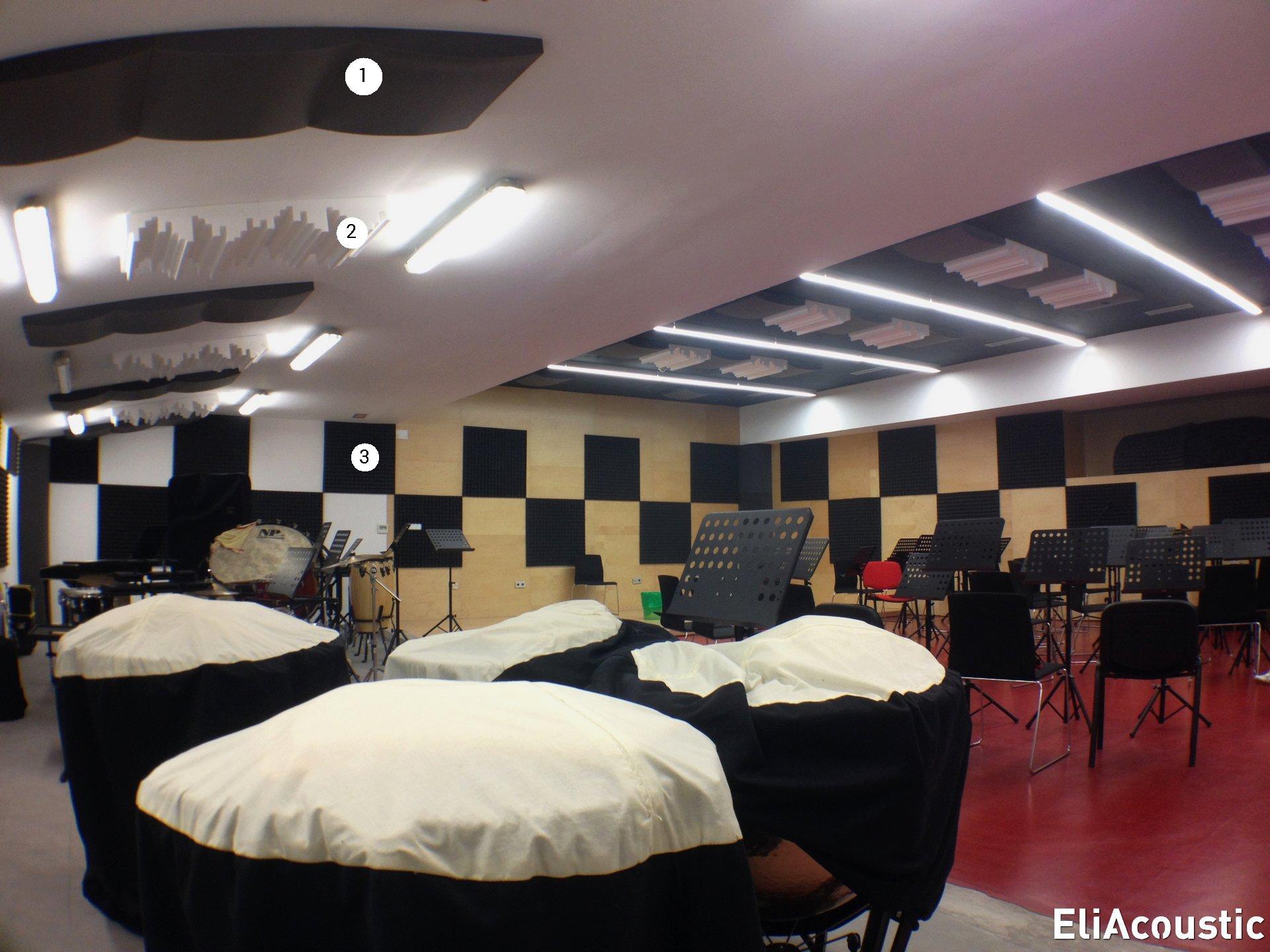 mejorar el sonido en sala de ensayos con paneles acusticos decorativos