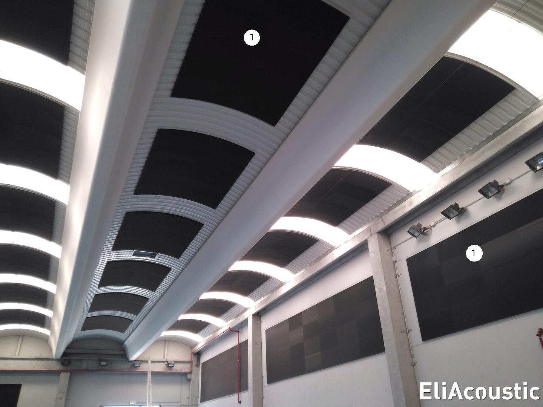 Reduccion del eco con paneles acusticos en pabellon deportivo